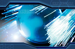 Earth and fiber optics. Abstraction blue background in high-tech style Stock Images