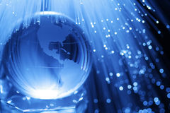 Earth & fiber optics. Earth in blue fiber optics