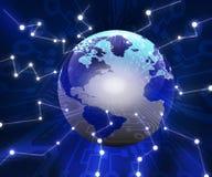 Earth & fiber optics Stock Photo