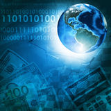 Earth and figures on money background Royalty Free Stock Image