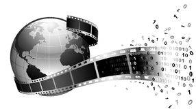 Earth and film. Vector: earth and film, black and white Stock Photography