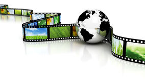 Earth with film. Film with images and earth Royalty Free Stock Photography