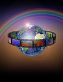 Earth Film. Planet Earth with film with rainbow Stock Image