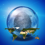 Earth fingerprint Id. Enclosed in Glass Sphere Stock Photography