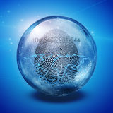 Earth fingerprint Id. Earth and fingerprint ID in Sphere Stock Photography