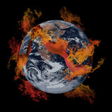 Earth on fire. A large crack on the earth with fire Stock Photo