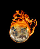 Earth On Fire. An apocalyptic image of the planet earth burning up Stock Images
