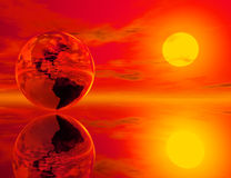 Earth and fire. High resolution 3D render of earth in a dramatic sunset setting Stock Image