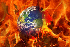Earth Fire Burning Planet Disaster. Planet Earth End Burning in an apocalyptic scenario Stock Photo
