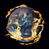 Earth on Fire. Flames surround the planet earth. Earth on fire. Can be isolated or cut out. Metaphor for end of the world or Destruction of environment concept Royalty Free Stock Photos
