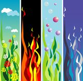 Earth, fire, water, air. Banners depicting the four elements, earth, water, fire, air Royalty Free Stock Photo