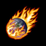 Earth fireball. Earth in a fireball on black Royalty Free Stock Images