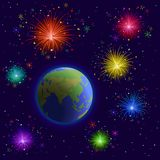 Earth and firework Stock Photography