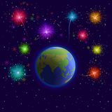 Earth and firework Royalty Free Stock Photos