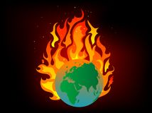 Earth in flames Stock Photo