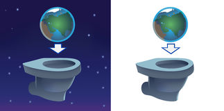 Earth flashing in toilet Stock Photos