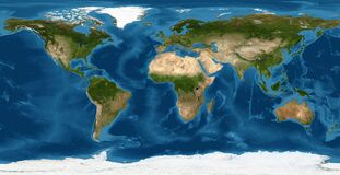 Free Earth Flat View From Space. Detailed World Physical Map On Global Satellite Photo Royalty Free Stock Images - 175408719