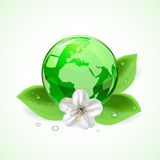 Earth with flower. Shiny green globe with flower and leaves, illustration Royalty Free Stock Photo