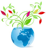 Earth and flower vase Royalty Free Stock Photos