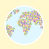 Earth of flowers. Planet with continent from flowers stock photos