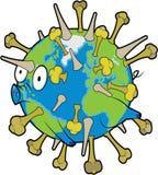 Earth Flu virus. Swine flu virus. H1 N1 earth infection Royalty Free Stock Photos