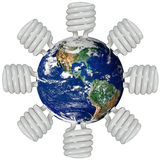 Earth and Fluorescent lights stock photo
