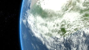 Earth flyby of meteor, asteroid, spaceship, rocket, satellite. Earth from space. stock video footage