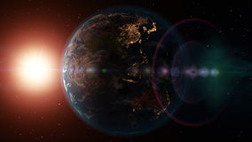 Earth flyby, sunrise and sunset. Beautiful 3D animation, seamless loop. royalty free illustration