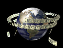 Earth with flying dollars around it. Earth globe with flying dollars around it Stock Photo