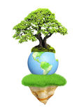 Earth, flying island and tree Royalty Free Stock Photos