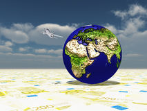 Earth focus Europe, Africa, Mideast, Asia. On Euro Surface and Aircraft Circling Planet Stock Photography