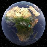 Earth focused on Africa. Viewed from space Stock Image