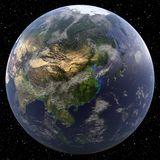 Earth focused on China. Viewed from space Royalty Free Stock Photos