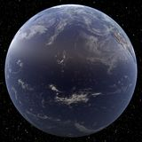 Earth focused on Hawai viewed from space. Stock Images