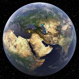 Earth focused on Middle East. Viewed from space Stock Photography