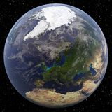 Earth focused on North Pole (Europe). Viewed from space Stock Image