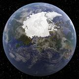 Earth focused on North Pole viewed from space. Royalty Free Stock Image