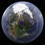 Earth focused on North Pole. Viewed from space Stock Photography