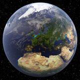 Earth focused on Northern Europe Stock Photo