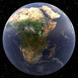 Earth focused on South Africa. Viewed from space. Countries viewed include Madagascar Royalty Free Stock Photography