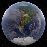 Earth focused on the South Pole. (Argentina) viewed from space. Countries viewed include Argentina and Brazil Royalty Free Stock Photos