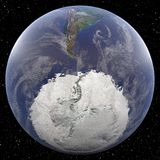 Earth focused on South Pole. Viewed from space Royalty Free Stock Photography