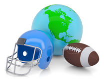 Earth, football helmet and ball Royalty Free Stock Image