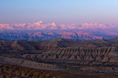 Earth Forest Geopark in Ngari, Tibet. Earth Forest Geopark and Himalaya mountain view at sunrise in Ngari, Tibetan Autonomus Region of China Royalty Free Stock Image