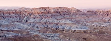 Earth Forest Geopark at sunrise in Ngari, Tibet, China. Panorama of Earth Forest Geopark at sunrise in Ngari, Western Tibet, China Royalty Free Stock Photos