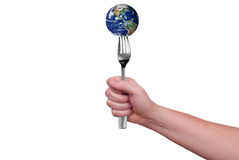 Earth on fork Royalty Free Stock Images