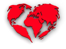 Earth in the form of heart Stock Images