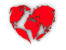 Earth in the form of heart Royalty Free Stock Image