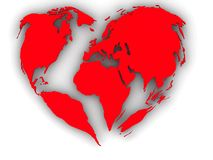 Earth in the form of heart Royalty Free Stock Images