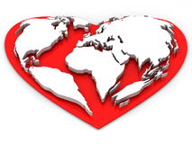 Earth in the form of heart Royalty Free Stock Photos